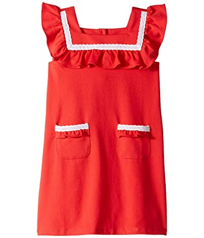Janie and Jack Ruffle Ponte Pocket Dress (Toddler/Little Kids/Big Kids) (Red) Girl