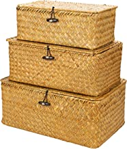 Yesland Woven Wicker Storage Bins with Lid - Set of 3 - Rectangular Seagrass Basket and Storage Basket - Storage Basket wi...