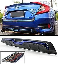 Fits for 2016-2018 Honda Civic 4 Door Sedan Carbon Texture Rear Bumper Diffuser With Blue Accent