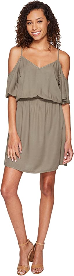 Rayon Crosshatch Cold Shoulder Dress