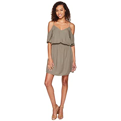 Splendid Rayon Crosshatch Cold Shoulder Dress (Military Olive) Women