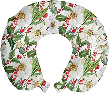 Ambesonne Watercolor Travel Pillow Neck Rest, Christmas Themed Floral Poinsettia Winter Inspirations Berries Leaf, Memory Foa