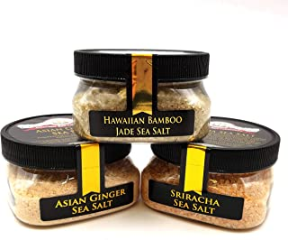 Pacific Cooking Sea Salt Collection 3-Pack: Asian Ginger, Bamboo Jade, Sriracha - Perfect for Adding Pegan-Friendly Flavor to Your Favorite Foods - Non-GMO, Gluten-Free, No MSG (12 total oz.)