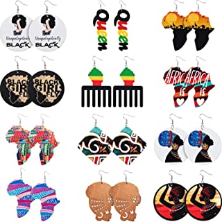 12 Pairs African Map Wooden Round Earrings Statement Natural Wooden Painted Earrings Ethnic Style Drop Dangle Earrings Set