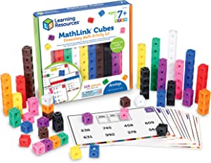 Learning Resources MathLink Cubes Elementary Math Activity Set, Math Manipulative, Preschool Toy, Activity Cards Included, Ages 18 mos+