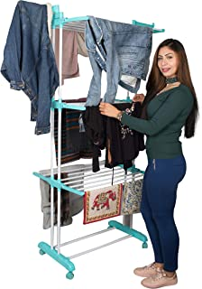 PARASNATH Powder-Coated Steel + Plastic Aqua 6 Layer Clothes Drying Stand with Breaking Wheel System Made in India (Multic...