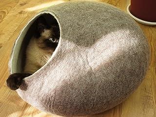 猫ベッド。猫洞穴。ペットハウス。羊毛から手作り。ド サ イズ: L(大)。サンドブラウン色。 Kivikis製。