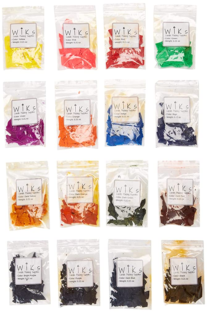 Candle Dye Flakes for Making Candles – 16 Popular Colors, 0.21 oz Per Bag (Total 3.6 oz) – Work Well with Soy, Paraffin Wax, Beeswax – Non-Toxic, Skin Safe, Cruelty-Free – WIKs Candle Making Supplies