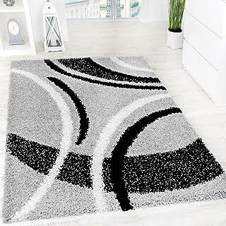 Alfombra Shaggy Pelo Alto Pelo Largo Estampada En Gris Negro Blanco, tamaño:190x280 cm