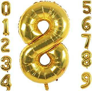 40 inch Number Balloons, Large Gold Foil Helium Balloons for Anniversary Wedding Birthday Party Decoration Supplies (Numbe...