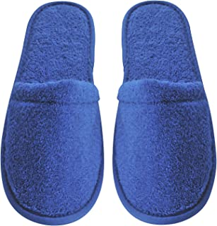 Arus Men's Turkish Organic Terry Cotton Cloth Spa Slippers, One Size Fits Most, Royal Blue with Black Sole