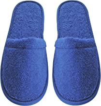 Arus Women's Turkish Organic Terry Cotton Cloth Spa Slippers One Size Fits Most, Royal Blue with Black Sole