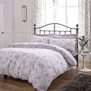 TRAILING FLORAL BUTTERFLIES GREY 144 TC COTTON BLEND USA TWIN (135CM X 200CM - UK SINGLE) DUVET COMFORTER COVER