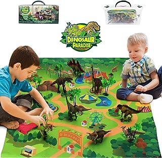 Bdwing Dinosaur Toys Activity Play Mat, 9 Realistic Educational Realistic Dinosaur Toy Play Set, Create a Dino World for A...