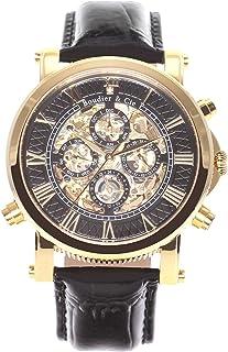 Boudier & Cie - SK14H036 - Reloj Esqueleto Automatico Analogico para Hombre, Esfera Negra, Carcasa Dorada de Acero Inoxidable, Correa de Cuero Negro