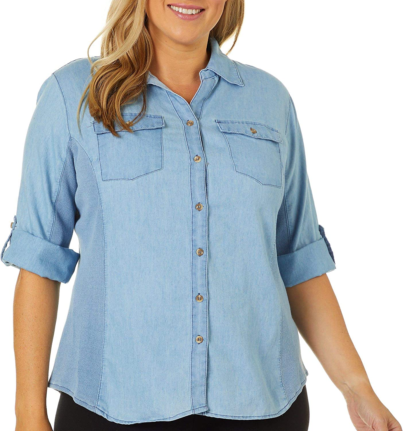 Coral Bay Plus Knit to Fit Denim Print Button Down Top Small Light wash