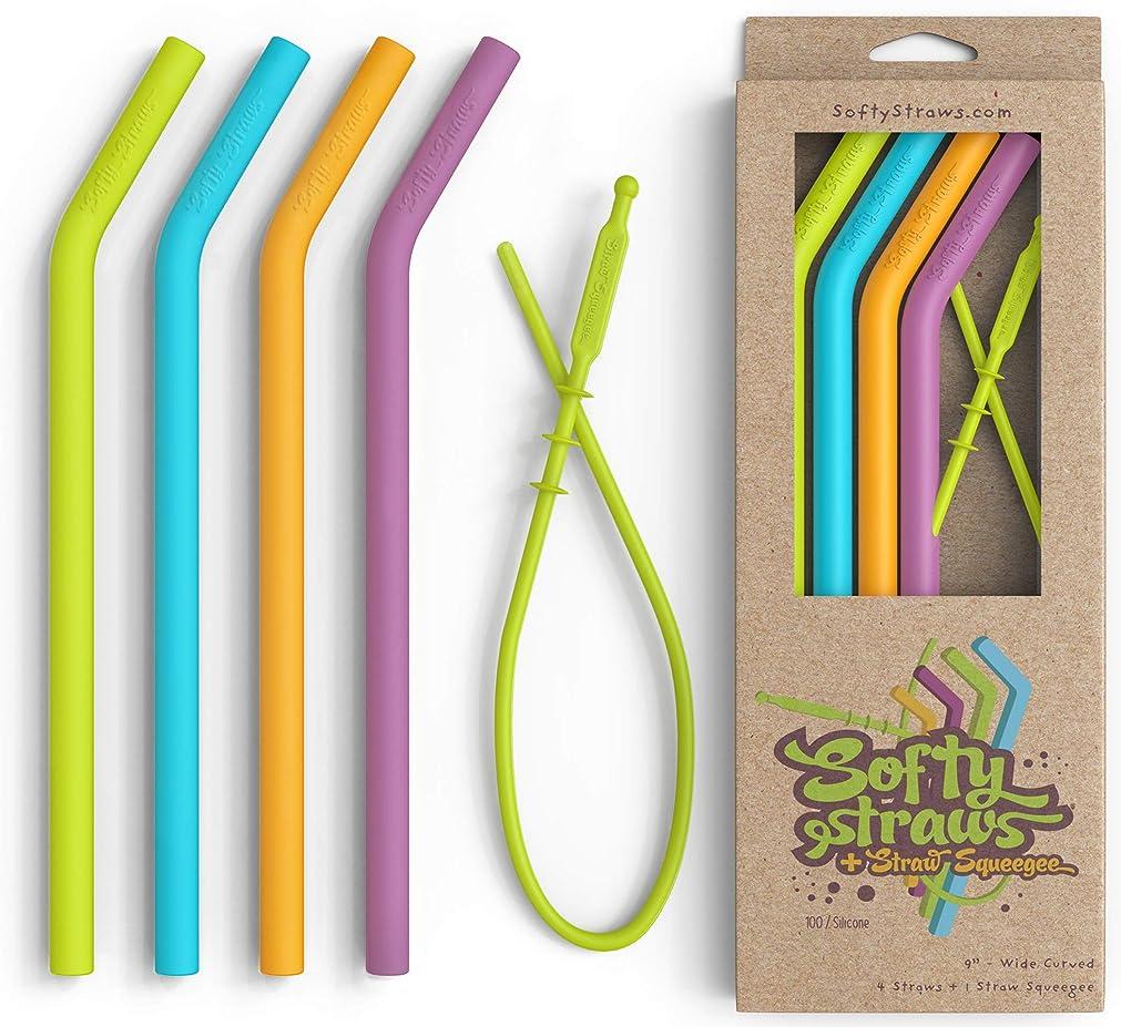 仕様わずらわしい銀Reusable Food Grade Silicone Drinking Straws - BPA Free, Dishwasher Clean, Safe for Kids by Softy Straws