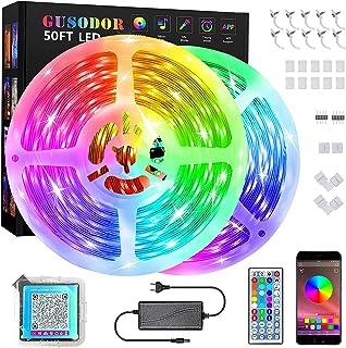 GUSODOR LED strip 15 m, 5050 RGB-led lamp, synchroniseren met muziekritme/timerfunctie, besturing via app, voor decoratie,...