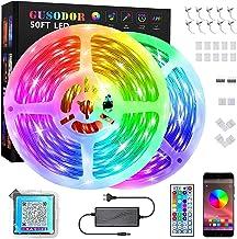 GUSODOR Taśma LED Bluetooth 15 m, RGB LED, wiele trybów sterowania, sterowanie za pomocą aplikacji, pilot na podczerwień, ...