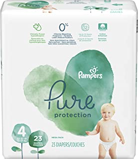 Diapers Size 4, 23 Count - Pampers Pure Disposable Baby Diapers, Hypoallergenic and Unscented Protection