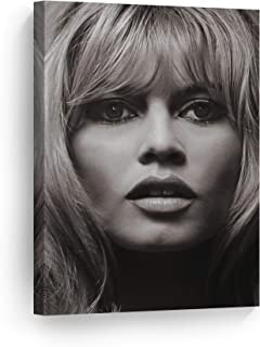 SmileArtDesign Lovely Face of Brigitte Bardot Black and White Wall Art Canvas Print Sexy French Icon Artwork Home Decor Wall Decor Stretched Ready to Hang-%100 Handmade in The USA - 17x11