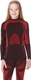 Ladeheid Camiseta Térmica Mangas Largas Ropa Interior Unisexo Niños LASS0008 (Negro/Rojo, 134-140)