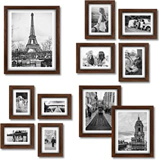 Homemaxs Picture Frame Set Collage 11 PCS - Family Rustic Wood Photo Frames with Four 4x6 in | Four 5X7 in | Two 8X10 in |...