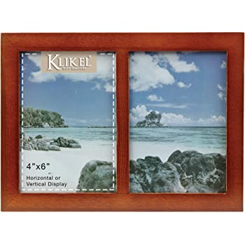 Lawrence Frames Walnut Wood Double 4 by 6 Matted Picture Frame 765124