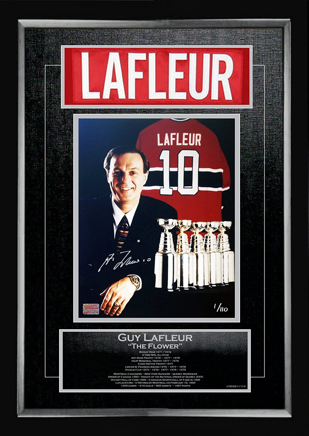 Guy Lafleur Career Collectible Namebar Ltd Ed  1 of 110  Museum Framed