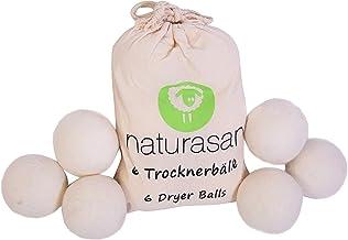 Naturasan Trocknerbälle für Wäschetrockner. 6 XXL Wollbälle, extragroß, der natürliche Weichspüler. Ideal für Daunenjacken.