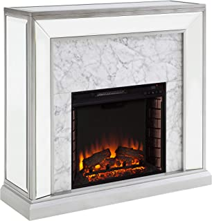 Furniture HotSpot Trandling Mirrored Faux Marble Fireplace