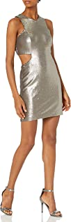 Halston Heritage Women's Sleeveless V Neck Sequined Dress with Cut Out