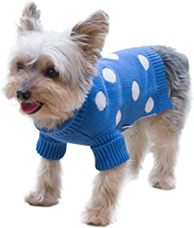 Stinky G Royal Blue Polka Dots Dog Pet Sweater with Rolled Neckline