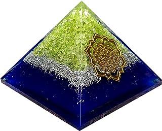 Piramide di Peridot Orgonite Fiore della vita Griglia di cristallo Regalo fidanzata Protezione EMF Kit di meditazione Chak...