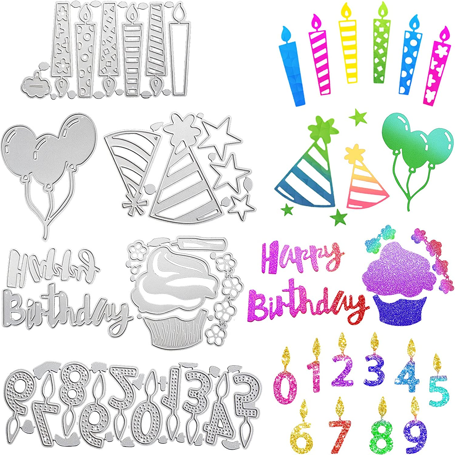 6 Pieces Cheap mail order shopping Metal Happy Choice Birthday Die Stencils Cuts Cake and Number