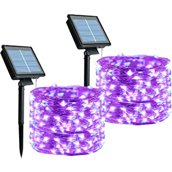 Outdoor String Lights, 2 Pack 33 Feet 100 Led Fairy Lights Waterproof Decoration Copper Wire Lights for Patio Yard Trees Christmas Wedding Party (Purple)