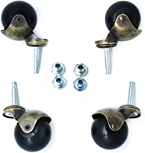 OfficeLogixShop - 4-Pack 2-inch Antique Gold Ball Caster with Wood Stem and Socket - Suitable for Sofa, Table, Chairs and Other Furniture   1 Year Limited Warranty  