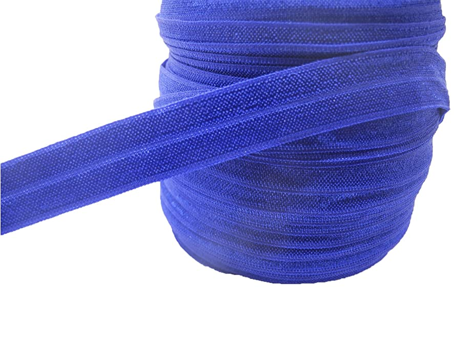 JESEP 40 Yards 5/8'' 1.5CM Fold Over Elastic (FOE)-Environmental Band #13 (Royal Blue)