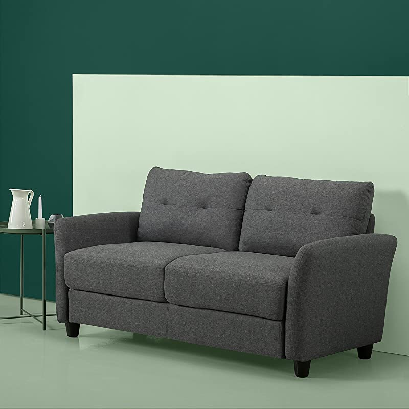 Zinus Ricardo Contemporary Upholstered 62 2 Inch Sofa Couch Loveseat Dark Grey