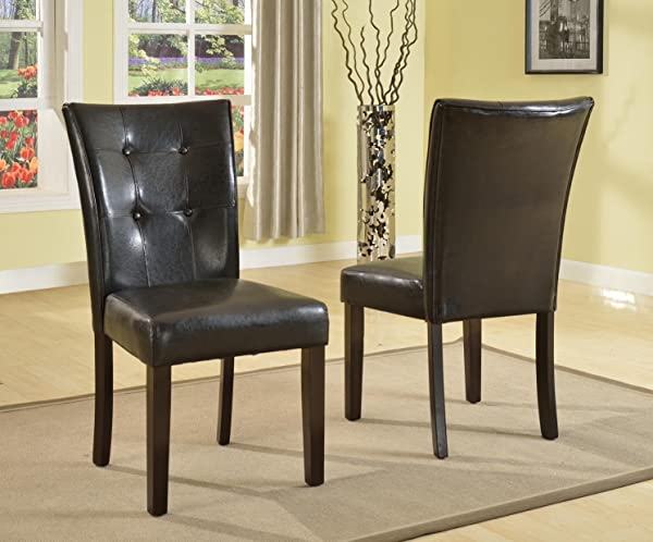 Roundhill Furniture Blended Leather Parson Dining Side Chairs With Espresso Legs Black Set Of 2