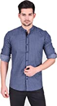 Ramdev Crafts Regular Slim Fit Casual Cotton Checkered Checks Print Shirt for Men (Full Sleeves) Light Blue ST0131