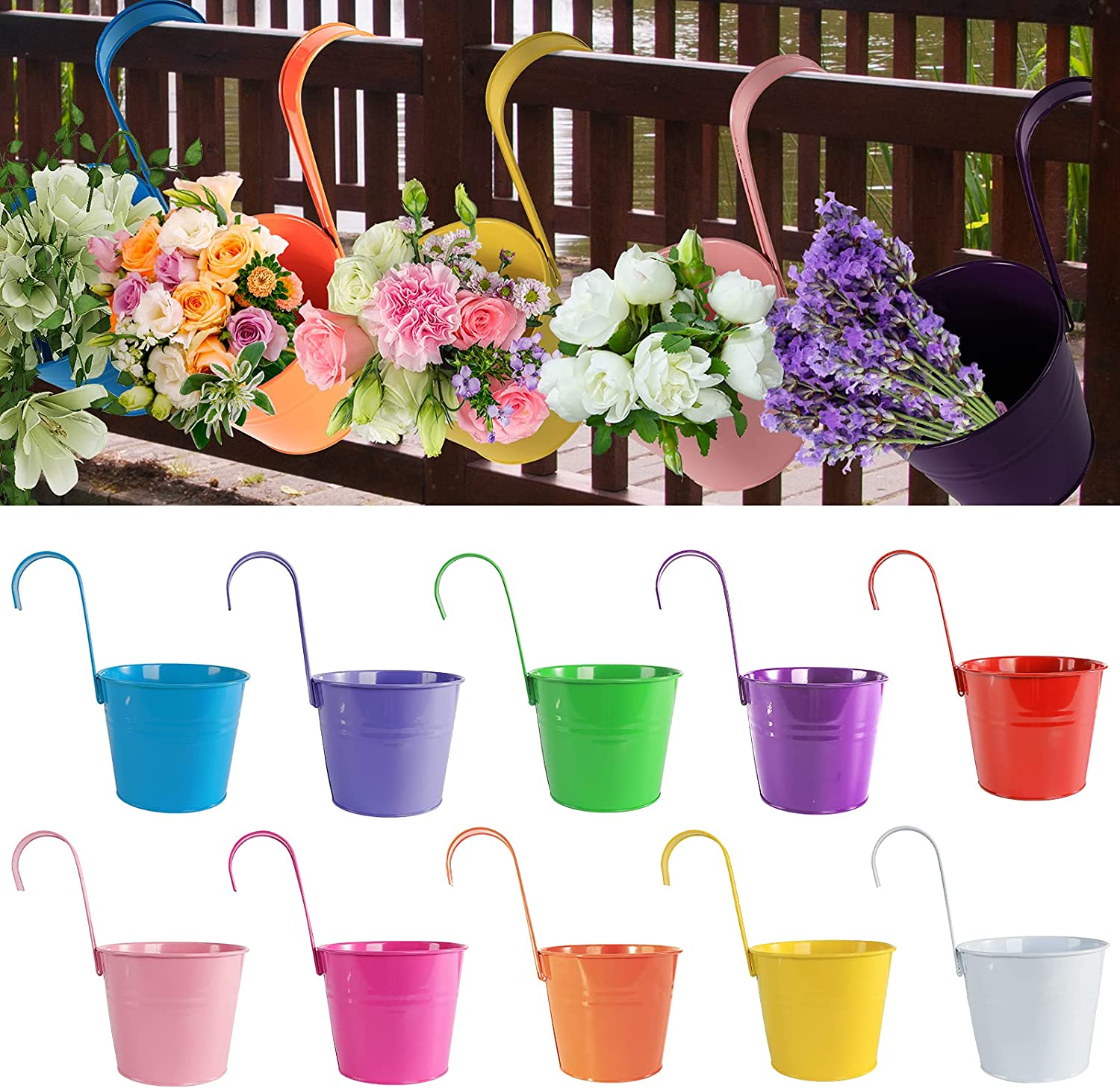 """Super special price Hanging Flower Pots 10 Pack Max 72% OFF 6.4"""" Fence x 5.2"""" Plant 4.7"""" Iron"""