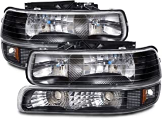 Headlights Depot Replacement for Chevy Silverado/Tahoe Halogen-Type Xenon Black 4-Piece