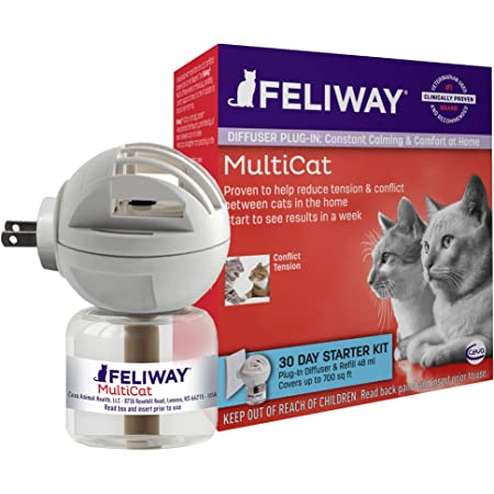 Feliway MultiCat Calming Diffuser Kit (30 Day Starter Kit) | Vet Recommended | Reduce Fighting and Conflict Among Cats