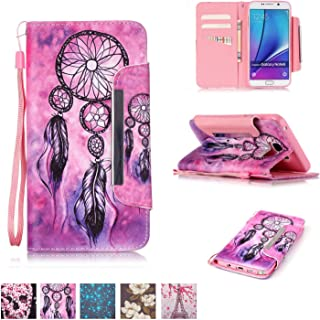 Galaxy Note 5 Case, Firefish [Kickstand] [Card/Cash Slots] Impact Dispersion PU Leather Wallet Flip Cover with Wrist Strap for Samsung Galaxy Note 5