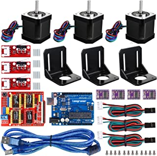 3D Printer CNC Controller Kit with ArduinoIDE, Longruner GRBL CNC Shield UNOR3 Board+RAMPS 1.4 Mechanical Switch Endstop DRV8825 A4988 Stepper Motor Driver Nema 17 Stepper Motor LKB02