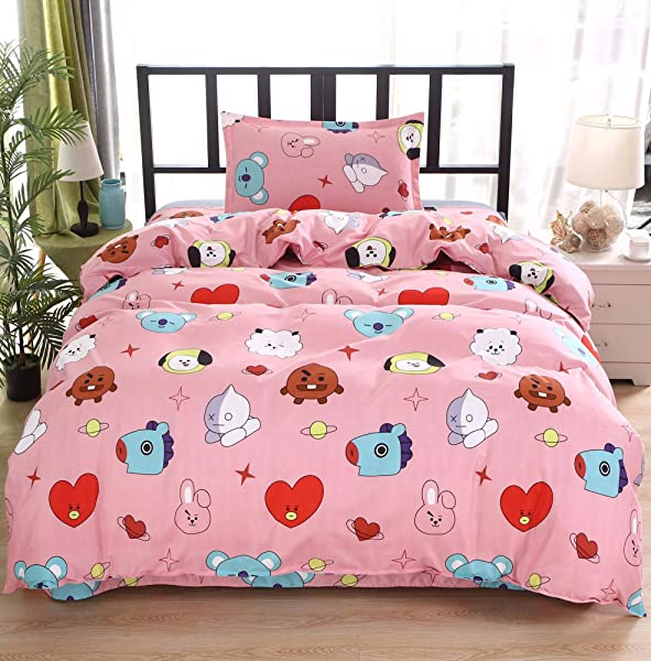 ACEFAST INC 3 Piece BTS Love Yourself Queen Bed Duvet Cover Sheets Set Cotton Flat Sheet Quilt Cover Jimin Suga Junkook V Rap J Hope Jin Cartoon Style