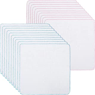 20 Pieces Cotton Facial Cleansing Muslin Cloths Soft Cloths Remove Makeup Tool Polishing Facial Cloths (11.8 x 11.8 Inch, Pink and Blue)