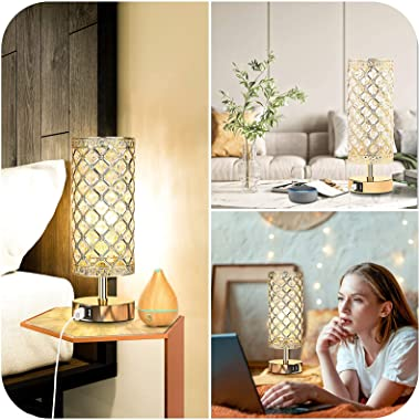 Set of 2 Touch Control Crystal Table Lamps with 2 USB Charging Ports, 3-Way Dimmable Bedside Gold Desk Lamps with Decorative