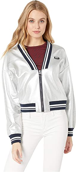 a8bfb106fb91 Juicy Couture. Nylon and Terry Mixed Track Jacket.  19.99MSRP   89.50.  Silver Foil